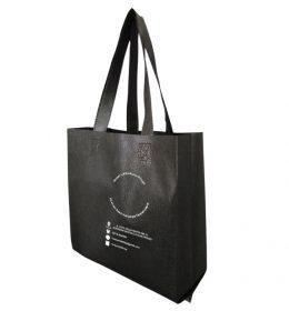Tas spunbond hitam sablon putih, tas non woven hitam