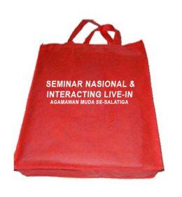 tas seminar nasional interaction live salatiga, merah tas spunbond, tas seminar kit murah