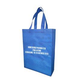 tas spunbond biru sablon putih murah