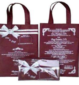 tas undangan pernikahan, tas souvenir pernikahan coklat model jinjing, tas undangan murah