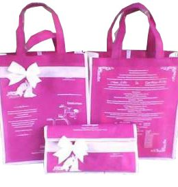 tas undangan pernikahan, tas souvenir pernikahan pink putih pita