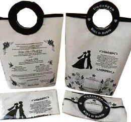 tas undangan pernikahan, tas souvenir pernikahan putih hitam