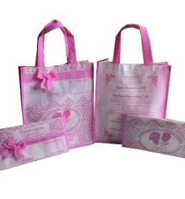 tas undangan pernikahan, tas souvenir pernikahan pink