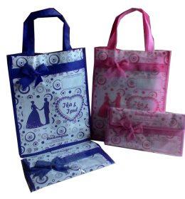 tas undangan pernikahan, tas souvenir pernikahan biru dan pink