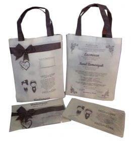 Tas spunbond souvenir pernikahan harga murah warna putih tali hitam