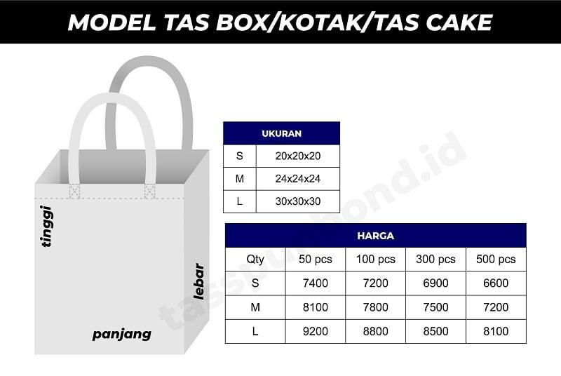 price list tas box tas kotak tas cake tasspunbond.id