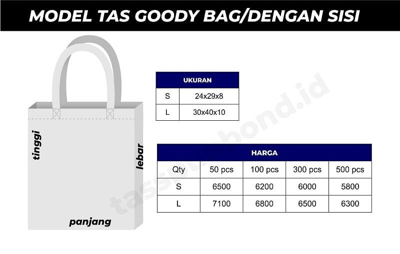 price list tas goody bag tas tas spunbond