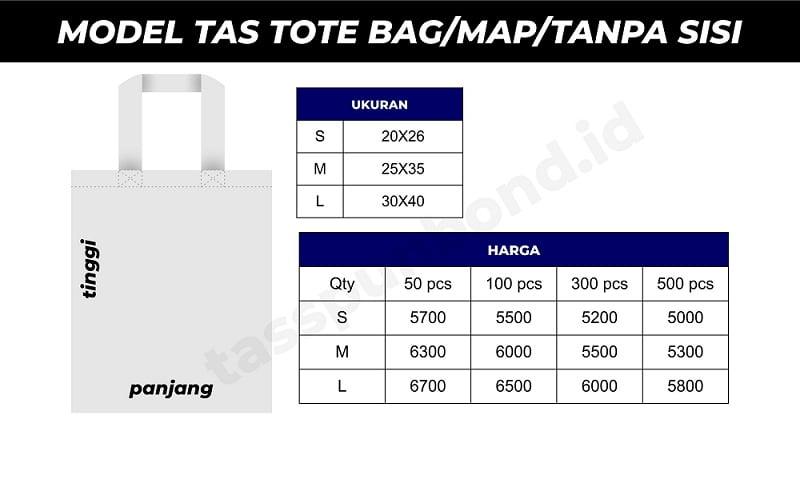price list tas tote tas map tas tanpa sisi tasspunbond.id